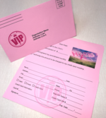 pink stock remittance  donation envelopes